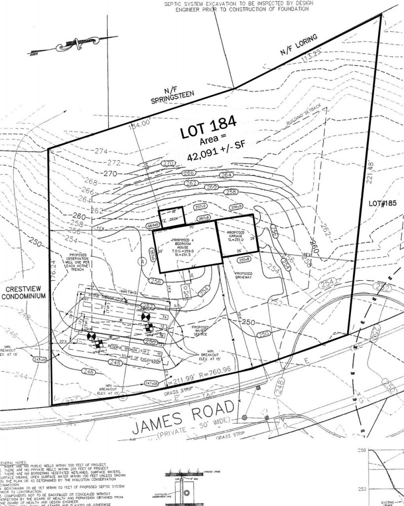 Sample plot plan showing site features
